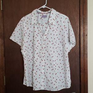 "Short sleeve, buttondown ""camp"" shirt w/strawberry"